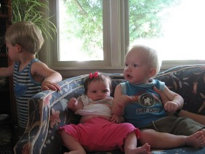 Tyson had a hard time staying still and poor Mikayla still can't sit up on her own!