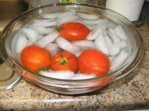 How to Blanch Tomatoes:  First boil tomatoes until skin starts falling off.  Remove from boiling water and place in ice bath.  Once tomatoes have cooled remove skin
