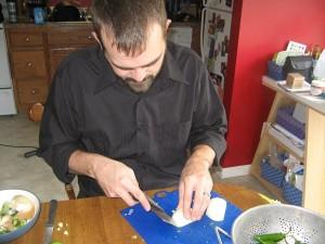 My wonderful hubby managing the cutting board.