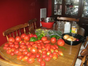 The crop needed to make salsa:  tomatoes, onions, pepers (bell, jalapeno, banana), apple cider vinegar, sugar, garlic, and salt