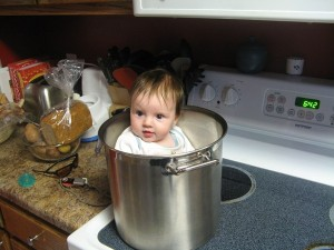 Mikayla likes to cook too...or rather be cooked!  Another one of her daddy's funny picture ideas.