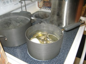 Boiling water and lids for canning!  We are getting close...