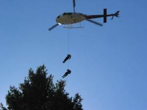 Practice Rappells at Moyer in Idaho, circa 2003.