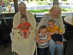 Grandpa and Grandma with their 3 great-grandchildren: Mikayla, Luke and Chase