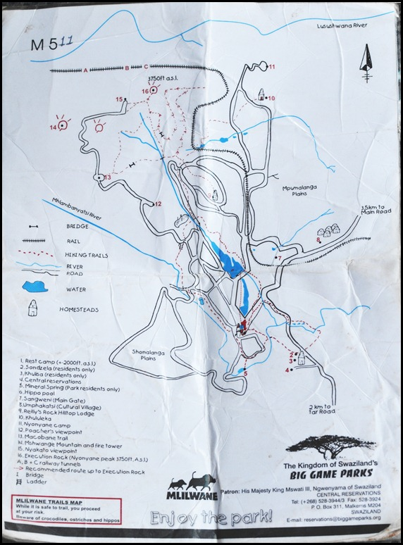 Mlilwane Hiking Map